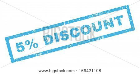 5 Percent Discount text rubber seal stamp watermark. Caption inside rectangular banner with grunge design and unclean texture. Inclined vector blue ink sticker on a white background.