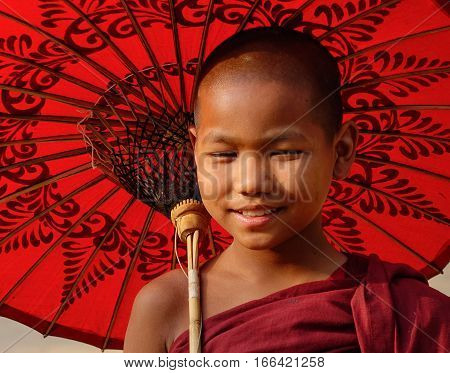 Portrait Of Burmese Monk In Bagan, Myanmar