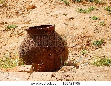 Ceramic Pot On Rural Road In Bagan, Myanmar