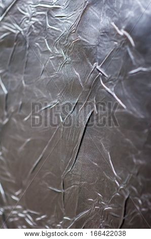 Silver Wrinkled Sheet Metal Is Light, Abstract Images.