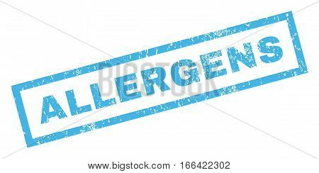 Allergens text rubber seal stamp watermark. Tag inside rectangular banner with grunge design and unclean texture. Inclined vector blue ink sign on a white background.