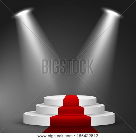 Illuminated Festive Stage Podium Scene with Red Carpet for Award Ceremony