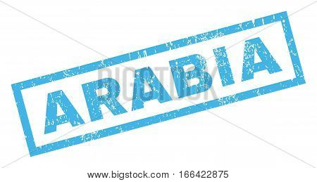 Arabia text rubber seal stamp watermark. Tag inside rectangular banner with grunge design and dirty texture. Inclined vector blue ink emblem on a white background.