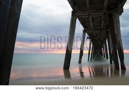 Pastel Sunset From Under The Port Noarlunga Jetty, Sa - Angled