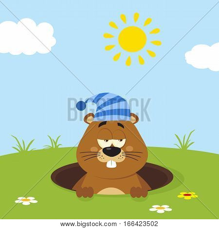 Cute Marmot Cartoon Mascot Character With Sleeping Hat Emerging From A Hole In Groundhog Day. Illustration Flat Design With Background