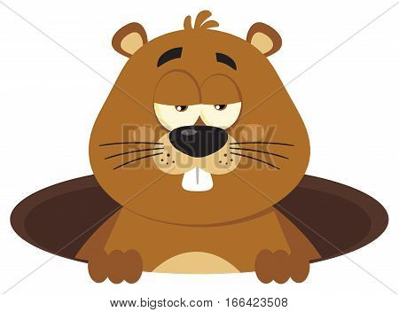 Cute Marmot Cartoon Mascot Character Emerging From A Hole. Illustration Flat Design Isolated On White Background