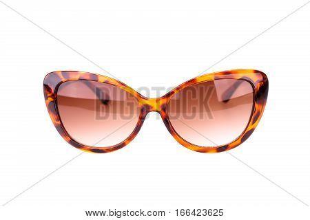 Stylish sunglasses isolated on a white background.