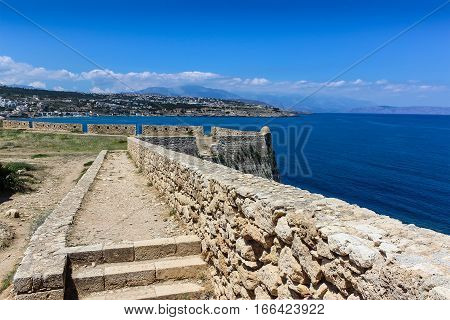The walls of the medieval fortress in Greece