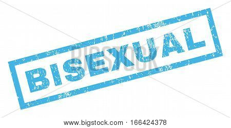 Bisexual text rubber seal stamp watermark. Caption inside rectangular shape with grunge design and unclean texture. Inclined vector blue ink sign on a white background.
