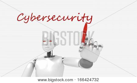 White female robot writes the word cybersecurity concept 3D illustration