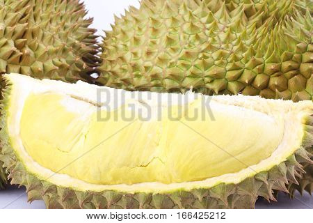durian  mon thong is king of fruits durian and  durian peeled fruit plate tropical durian on white background healthy durian fruit food isolated