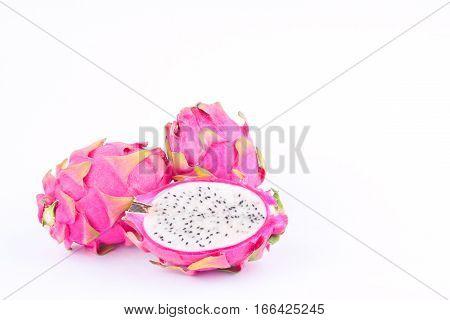 dragon fruit (dragonfruit) or pitaya on white background healthy fresh dragon fruit food isolated