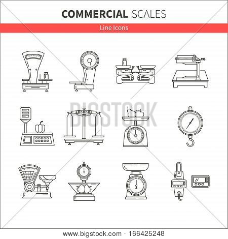 Set of vector icons of kitchen scales. Commercial scales. It can be used in business presentations, as an element banner design, web sites or printed materials.