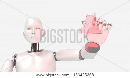 Female robot holding a glass hacker symbol cybersecurity concept isolated on white 3D illustration