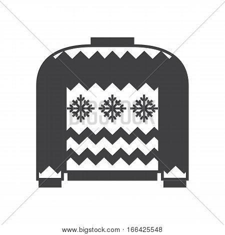 Woolen winter ugly sweater illustration in outline design. Sweatshirt silhouette vector icon.