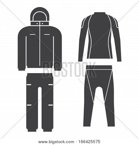 Vector illustration of skiing suit and sports thermal underwear top and bottom set. Snowboard jacket and trousers. Snowboarding and skiing wear in flat design.