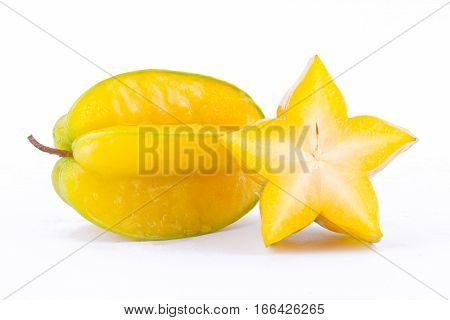 star fruit carambola or star apple ( starfruit ) on white background healthy  fruit food isolated