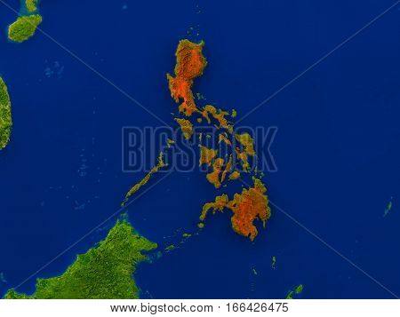 Philippines From Space In Red