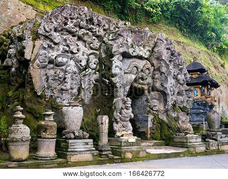 Entrance to the Goa Gajah sanctuary cave built at 9th century Ubud Bali Indonesia