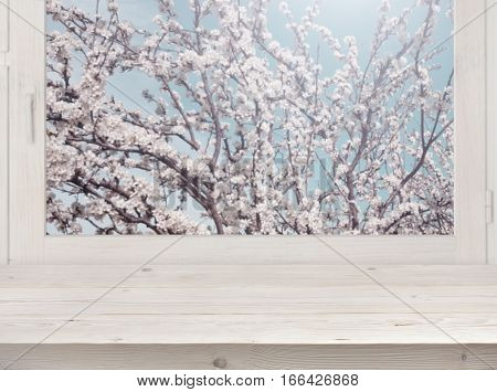 Wooden planks and window with blurred blossom tree in sunlight