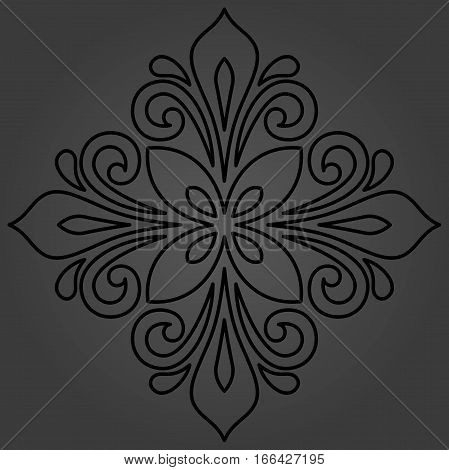 Oriental vector dark pattern with arabesques and floral elements. Traditional classic ornament. Vintage pattern with arabesques
