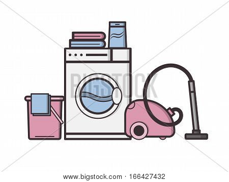 Vector Objects Laundry And Housekeeping. Dry Cleaning.