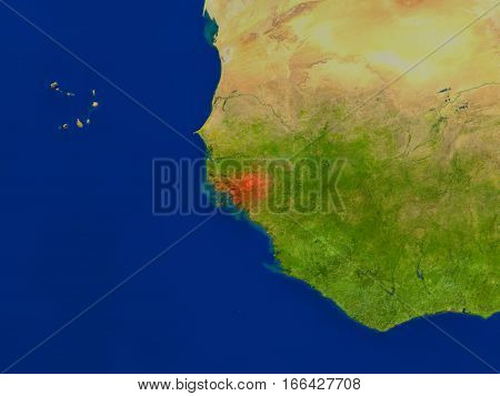Guinea-bissau From Space In Red