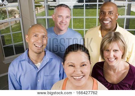 Portrait Of A Diverse Group Of Happy Friends