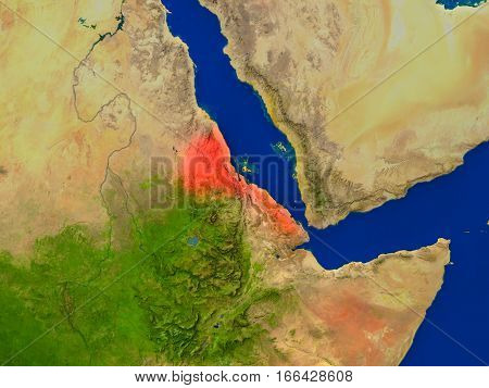Eritrea From Space In Red