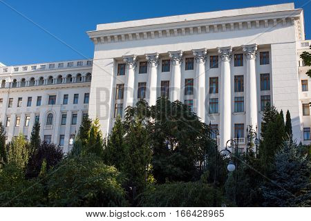 Ukrainian presidential residence in Kiev on blue sky background.