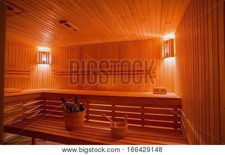 Sauna from the tree in the bath with the inventory
