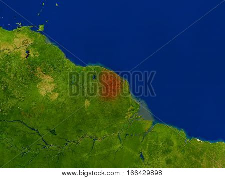 French Guiana From Space In Red