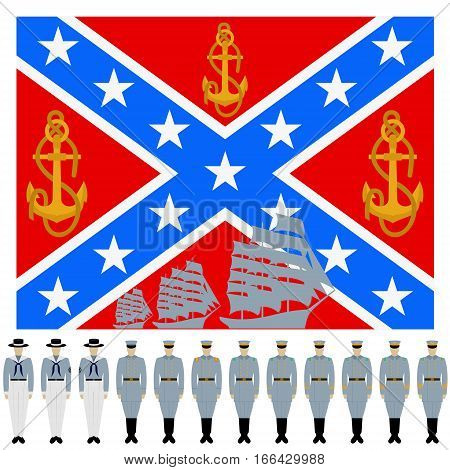 The flag and the linear part of the Confederation Navy. The American Civil War (1861-1865 year). The illustration on a white background.
