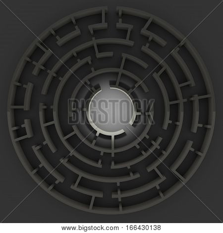 Circular maze structure with light surrounded by darkness. 3D illustration