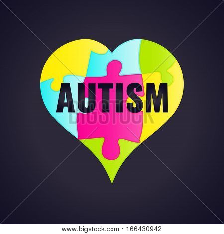 Autism awareness poster with puzzle pieces in a frame on white background. Solidarity and support symbol. Medical concept. Vector illustration.