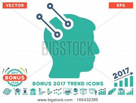 Cobalt And Cyan Neural Interface Connectors pictograph with bonus 2017 trend pictograms. Vector illustration style is flat iconic bicolor symbols, white background.
