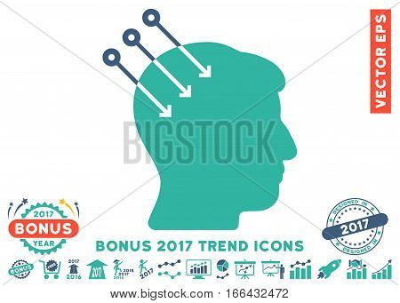 Cobalt And Cyan Neural Interface Connectors icon with bonus 2017 year trend elements. Vector illustration style is flat iconic bicolor symbols, white background.