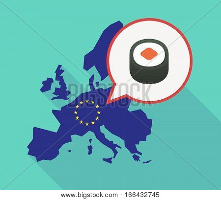 Long Shadow Eu Map With A Piece Of Sushi Maki
