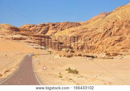 Desert Road and Desert Landscape. Desert Road Photo.