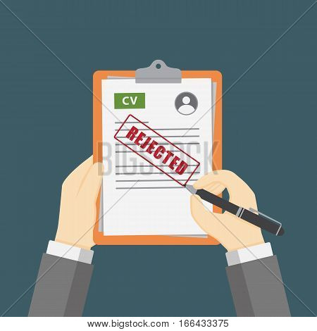 Curriculum Vitae Review Illustration, Hand Holding CV profile on Clipboard with Rejected Sign