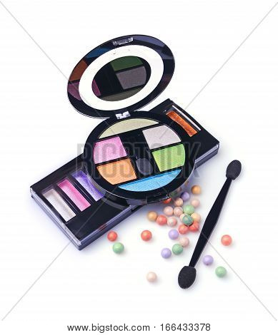 Composition Of Cosmetics With Coloured Eyeshadows, Face Powder Balls And Applicators