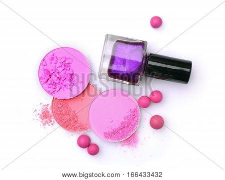 Pink Crashed Blush And Violet Nail Polish