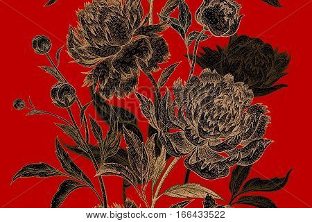 Peonies seamless floral pattern. Hand drawing art. Black gold red vector illustration. Oriental style vintage flowers. For creating fabric paper textiles wallpaper curtains wrapping phone case