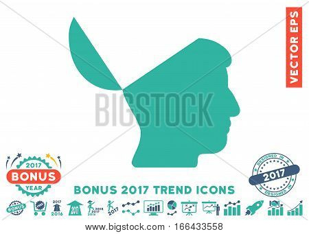 Cobalt And Cyan Open Mind pictograph with bonus 2017 trend icon set. Vector illustration style is flat iconic bicolor symbols, white background.