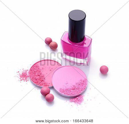 Pink Crashed Blush And Nail Polish