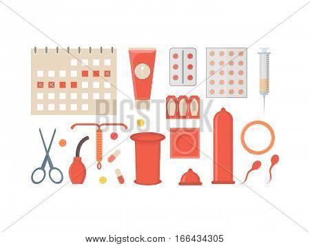 Cartoon Contraception Method Set Safe Sex for Man and Fomen Flat Design Style. Vector illustration