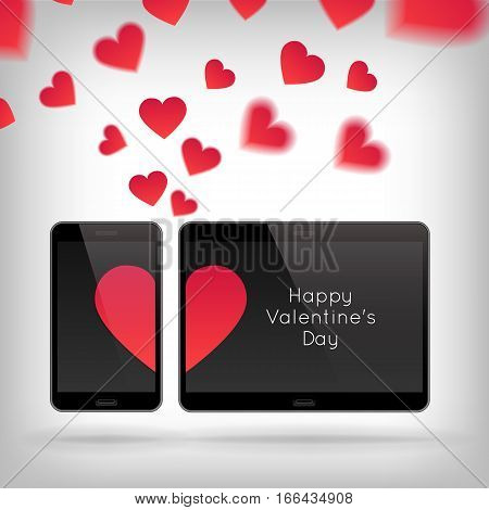 Happy Valentines Day greeting card. Vector illustration with technology device and hearts. Red hearts on screen of mobile phone. Telephone with romantic symbol of love.