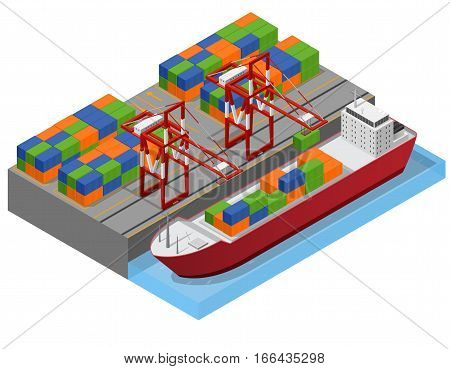 Port Town and Barge Ship Isometric View Loading Color Freight Containers Concept Cargo Transportation . Vector illustration