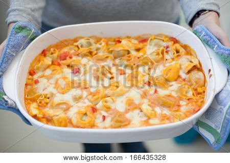 Tortellini Gratin With Vegetables