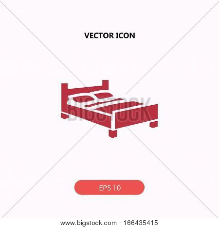 double bed vector icon isolated on white background